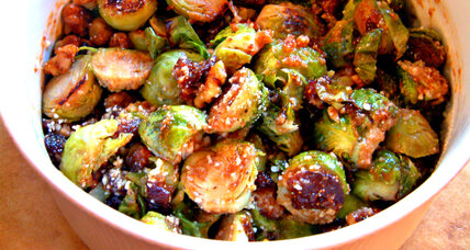 Roasted Brussels sprouts with walnuts and figs