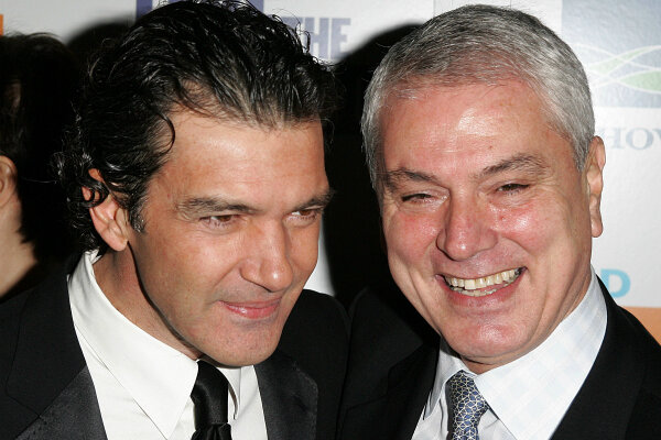 Actor Antonio Banderas Left And Pierre Dulaine Pose For Pictures At The Premiere Of Take The Lead In New York In  In The Film Banderas Plays The