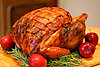 Bacon blanketed, herb-roasted turkey