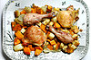 Roast chicken with root vegetables