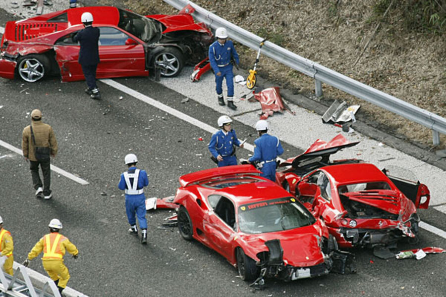 World S Most Expensive Accident Eight Ferraris A Lamborghini And Two Mercedes Video Csmonitor Com