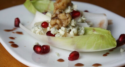 Pomegranate and poached pear salad