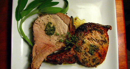 Herb and lavender-stuffed standing pork loin rib roast