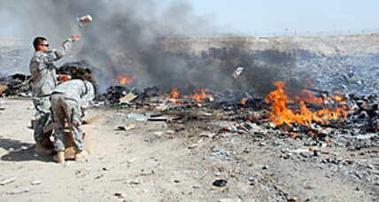 Iraq: US military contractor burns recyclables, violating contract