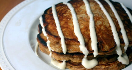 Carrot-raisin pancakes with cream cheese glaze