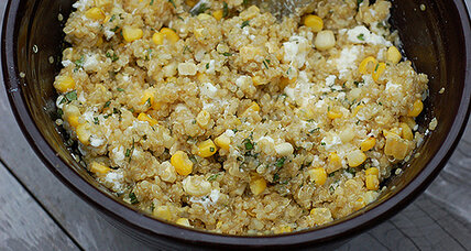 Quinoa, corn, and feta salad with fresh herbs