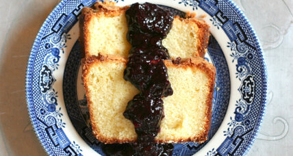 Sugar cake with blueberry-basil compote